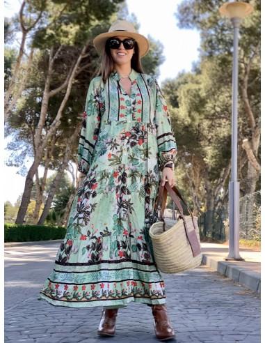 Vestido Flores verde