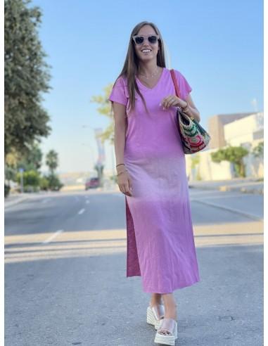 Vestido tres colores rosa