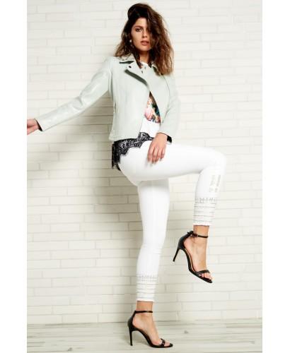 Pantalón blanco boho strass