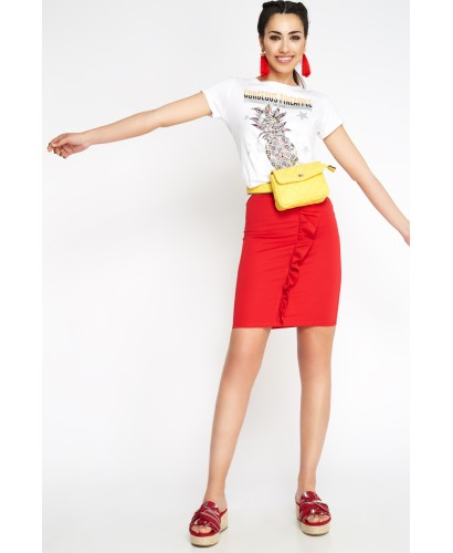 Falda volante roja