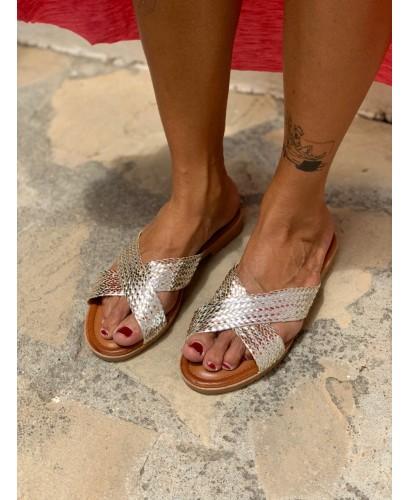 Sandalia tiras plata